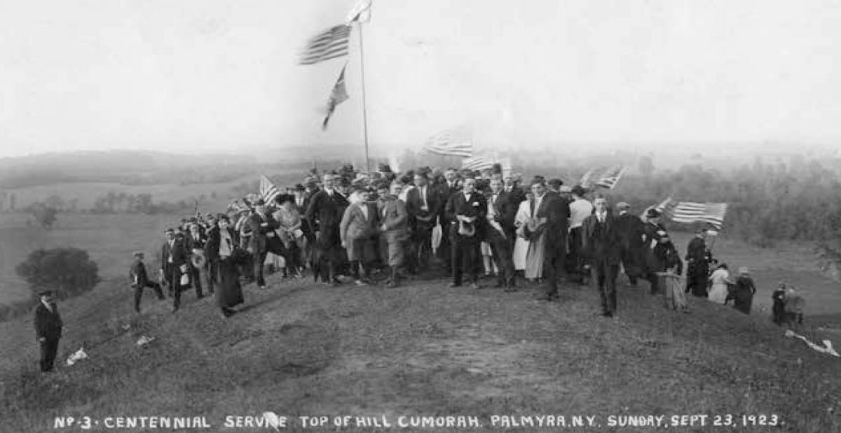 Centennial service on top of Hill Cumorah, Manchester, New York, September 23, 1923. Courtesy CHL.