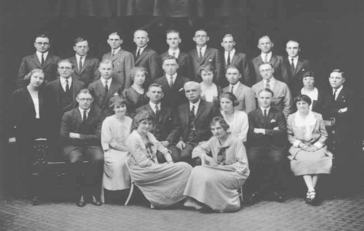 President B. H. Roberts with Eastern States missionaries, Brooklyn, New York, June 1922. Courtesy CHL.