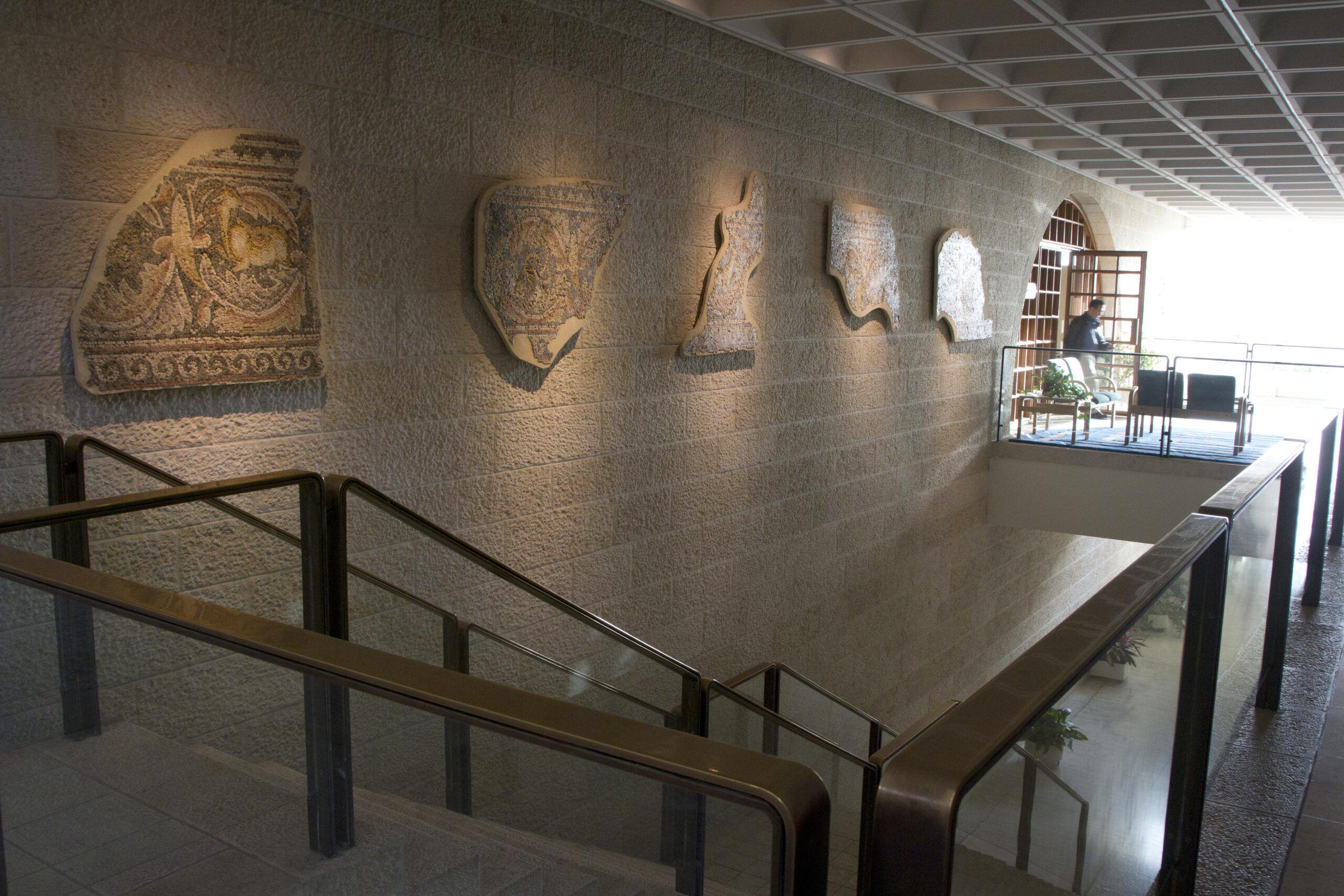 Mosaic above a stairwell in the Jerusalem Center. Photograph by Mark Philbrick. Courtesy BYU Jerusalem Center.