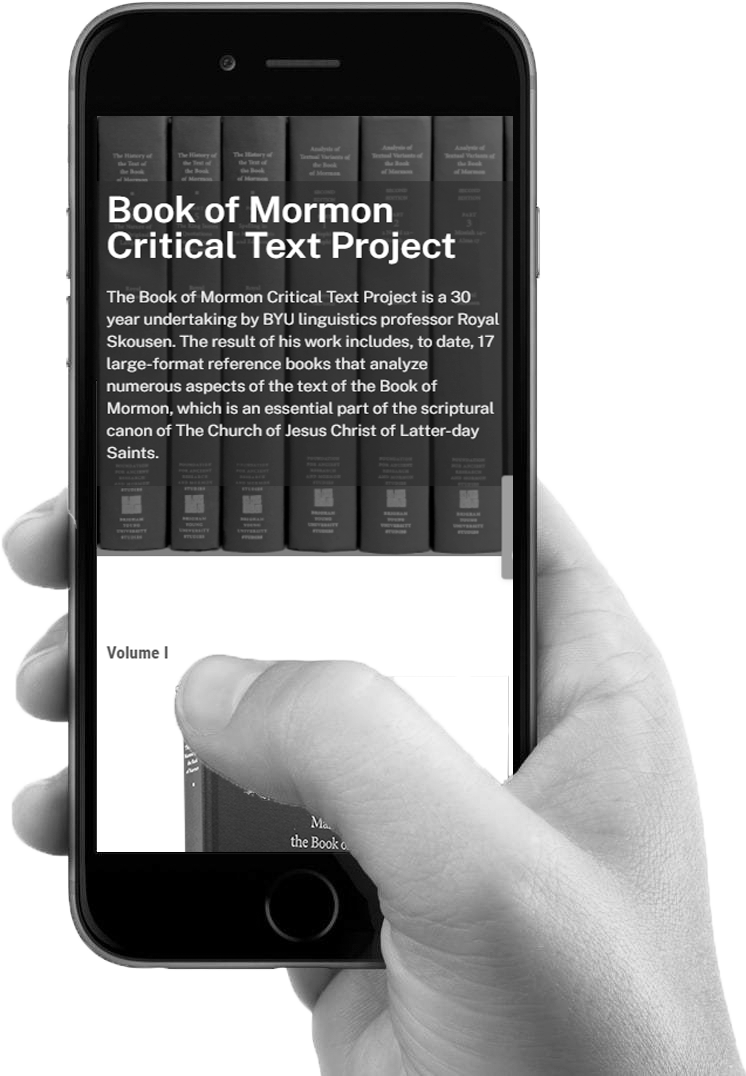 Forthcoming Book of Mormon Critical Text Project Volume V: A Complete Electronic Collation of the Book of Mormon